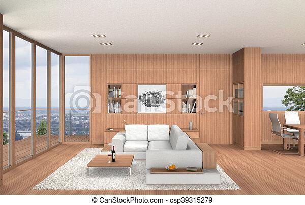 Wohnzimmer, Modern, Essen, Inneneinrichtung, Holz, Buche   Csp39315279