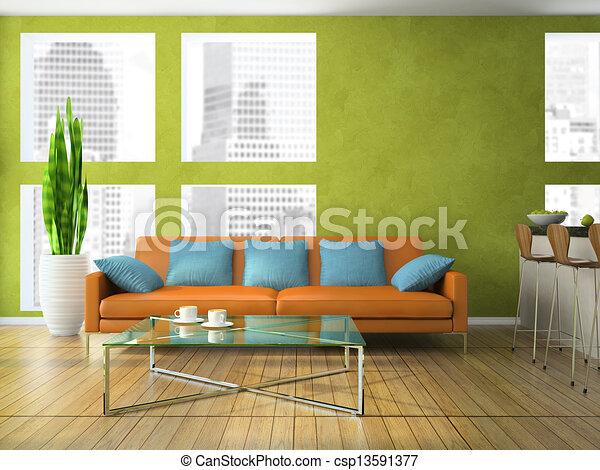 Wohnzimmer, modern, grün, farbe, teil. Wohnzimmer, farbe, modern ...