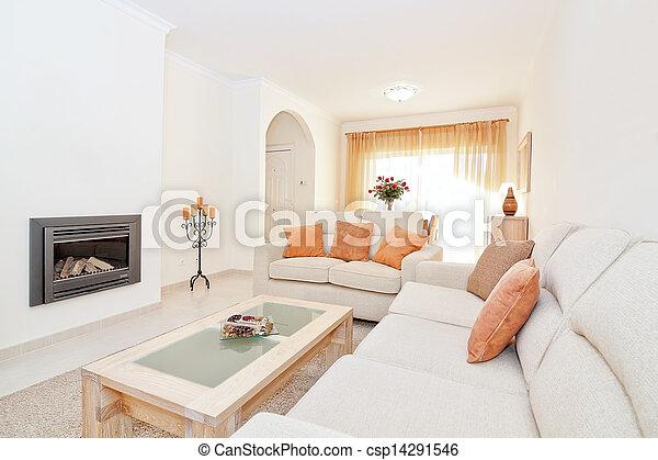 Wohnzimmer Modern Hell Warm Colors Heating Kaminofen