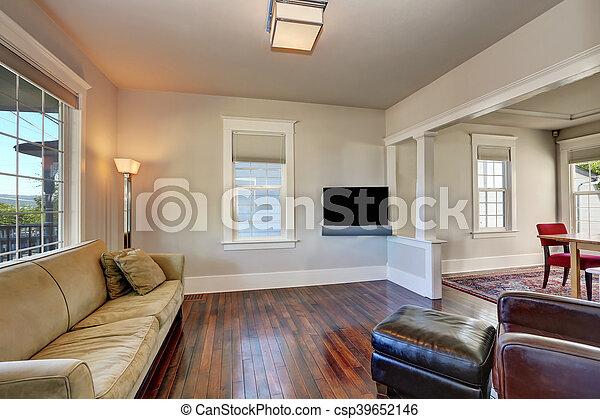 Wohnzimmer, Modern, House., Hell, Beige, Inneneinrichtung   Csp39652146
