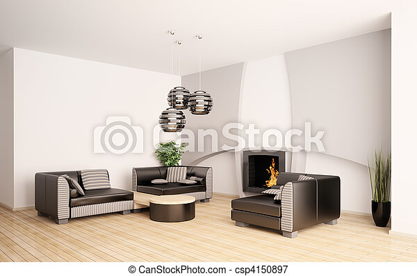 wohnzimmer, modern, inneneinrichtung, kaminofen, 3d - csp4150897