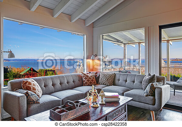Wohnzimmer Modern Sofa Grau Groß Wasser Ansicht Schöne