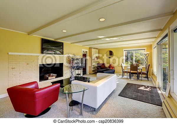 wohnzimmer, modern, sofas, weiß rot
