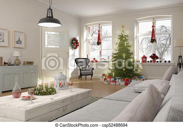 Wohnzimmer, render, baum, nordisch, weihnachten, 3d. Wohnzimmer ...