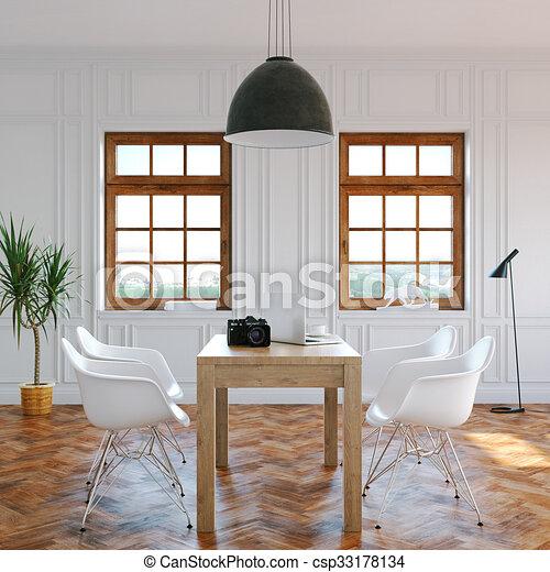 Wohnzimmer, Render, Klassisch, Stühle, Groß, Modern, Zentrieren, Windows,