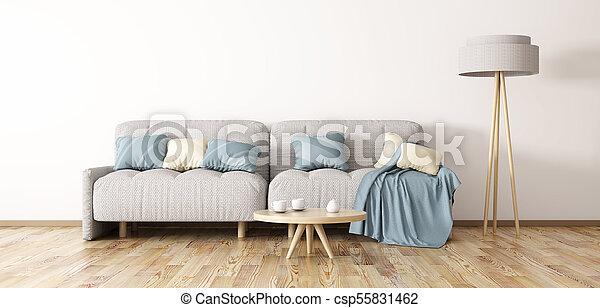 Wohnzimmer, Sofa, Modern, übertragung, Design, Inneneinrichtung, 3d    Csp55831462