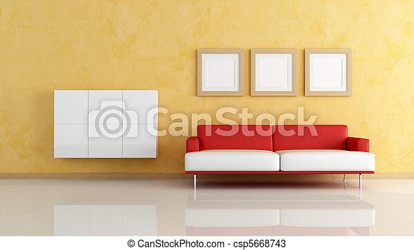 Wohnzimmer, sofa, orange, weiß rot. Lebensunterhalt, kabinette ...