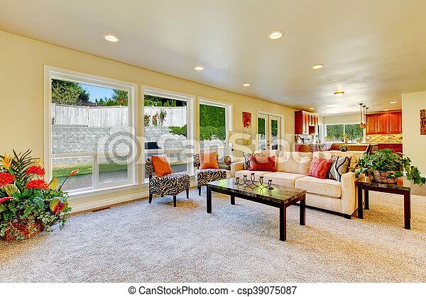 Wohnzimmer, Stühle, Sofa., Hell, Zebra Druck, Beige   Csp39075087