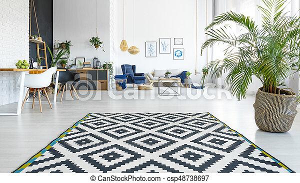 Wohnzimmer, teppich. Wohnzimmer, modern, schwarz, geräumig, weißes ...