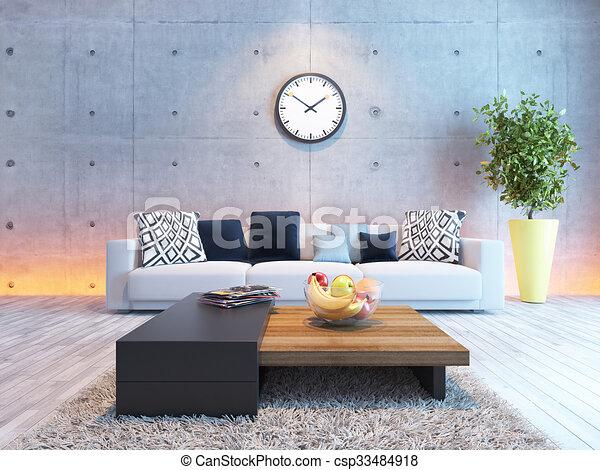 Wohnzimmer, Wand, Licht, Beton, Design, Unter, Inneneinrichtung    Csp33484918