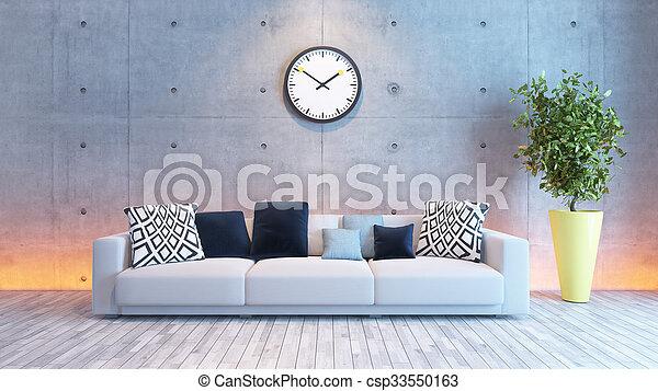 Wohnzimmer, Wand, Licht, Beton, Design, Unter, Inneneinrichtung    Csp33550163
