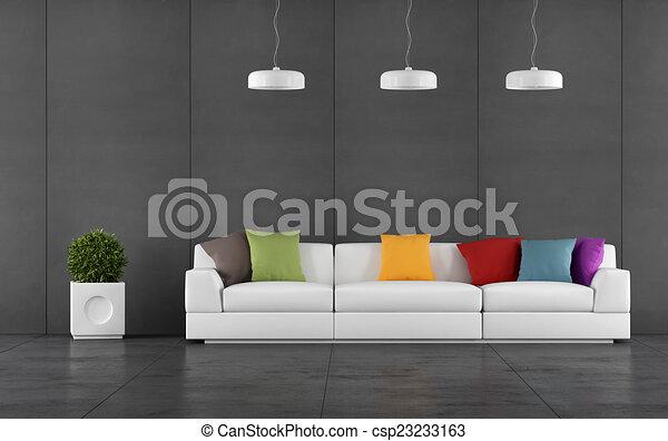 Wohnzimmer, Wand, Tafel, Schwarz, Täfelung   Csp23233163