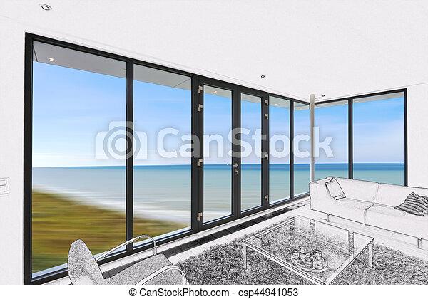Wohnzimmer, windows, modern, groß, zeichnung.... Stock ...