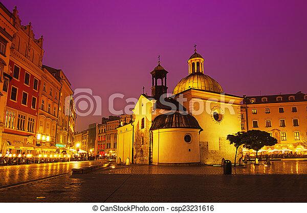 wojciech, 街, 教堂, 夜晚 - csp23231616
