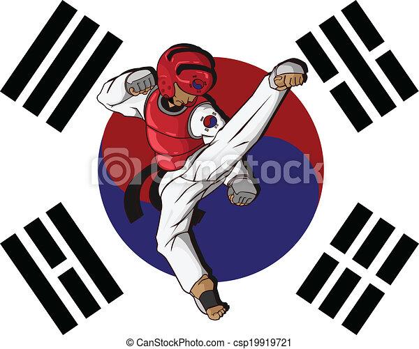 wojenny, taekwondo., sztuka - csp19919721