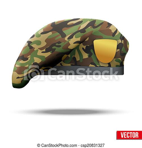 wojskowy, camo, beret, szczególna siła - csp20831327