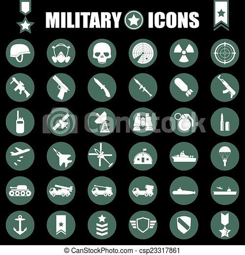 wojskowy, komplet, ikony - csp23317861