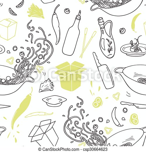 wok, elements., restaurant, modèle, seamless, main, stylisé, hipster, fond, dessiné - csp30664623