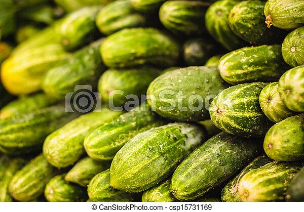 wole, świeży, cucumbers., tło, zielony - csp15731169