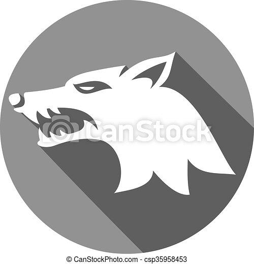 wolf, abbildung, gesicht - csp35958453