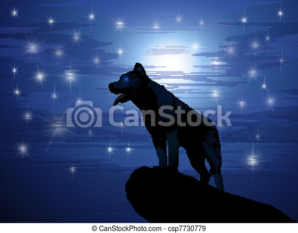 Wolf against the moon and stars - csp7730779