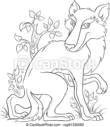 Wolf Coloring page. Cute animal character - csp61330083
