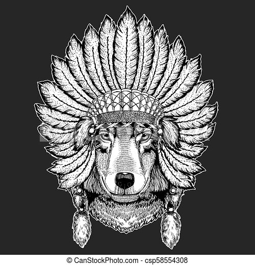 92c3ca590313a Wolf Dog Traditional ethnic indian boho headdress Tribal shaman hat  Ceremonial element - csp58554308