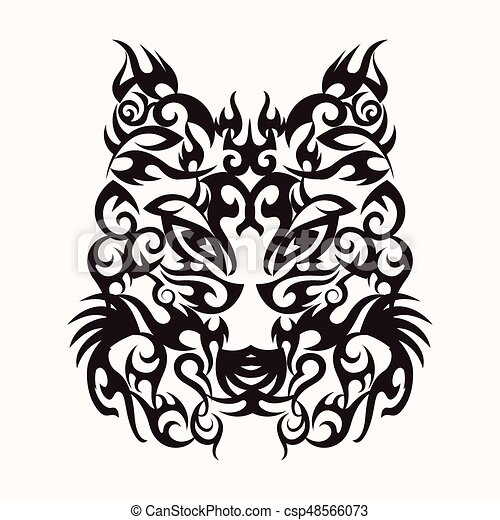 Wolf head art tattoo design tribal - csp48566073