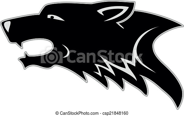 wolf head tribal tattoo rh canstockphoto com Wolf Head Drawings wolf head clipart black and white