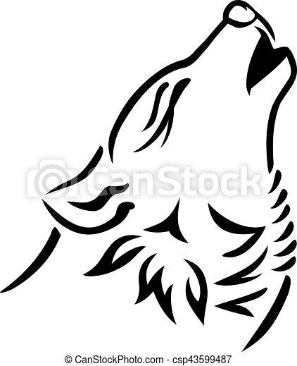 Wolf head howling - csp43599487