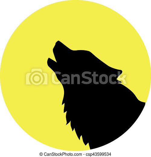Wolf head in front of a yellow moon - csp43599534