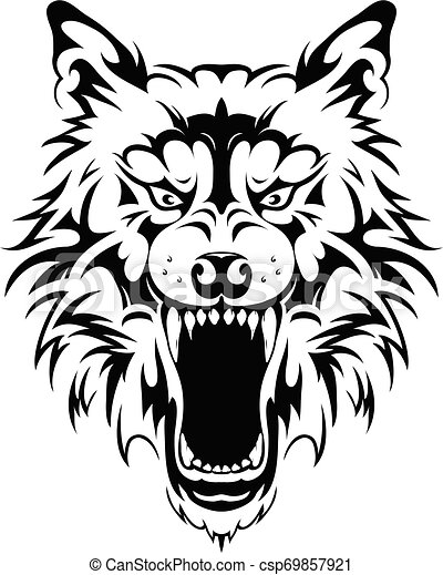 Wolf head tattoo design - csp69857921