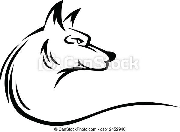 wolf head tattoo - csp12452940