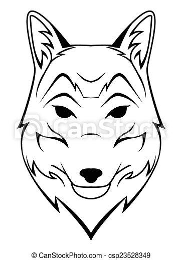 Wolf Head Tattoo - csp23528349