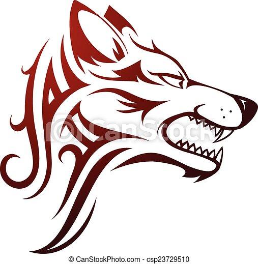 Wolf head tattoo - csp23729510