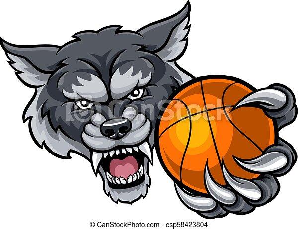 Wolf Holding Basketball Ball Mascot - csp58423804