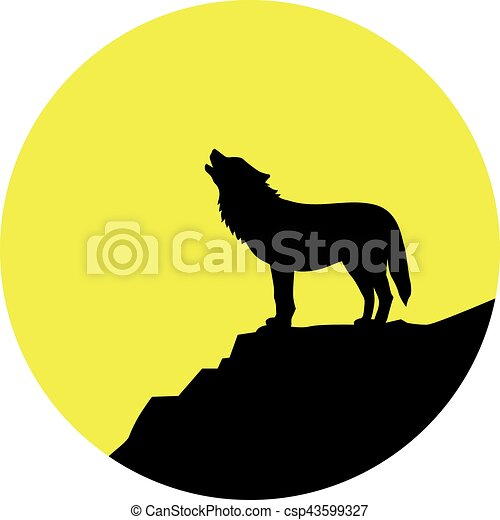Wolf howling at full moon - csp43599327