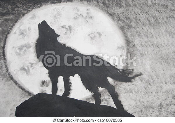 wolf howling stock illustration