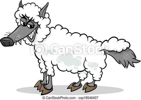 wolf in sheep clothing cartoon - csp18546407