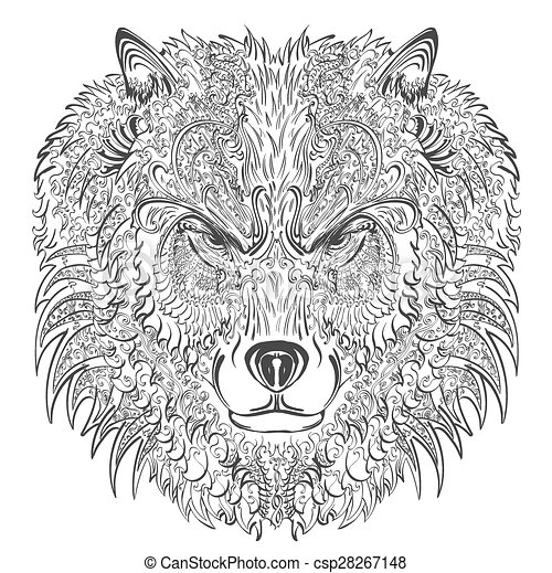 wolf lineart csp28267148