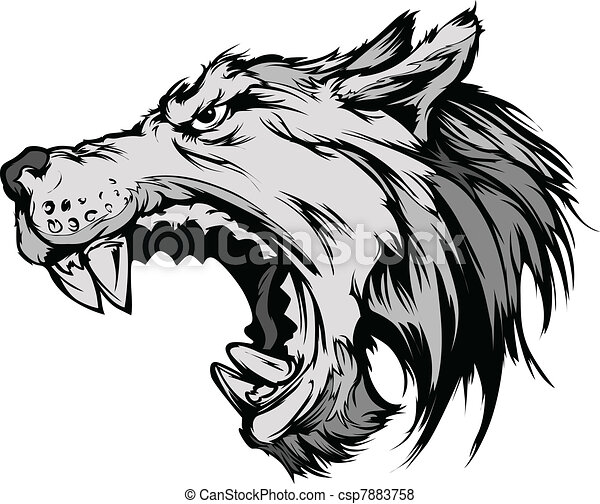 wolf mascot head vector cartoon cartoon vector mascot image of a rh canstockphoto com clipart wolf head clipart wolf head silhouette