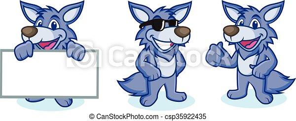 Wolf Mascot Vector happy - csp35922435