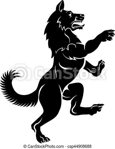 Wolf or Dog in Rampant Heraldic Coat of Arms Pose - csp44908688