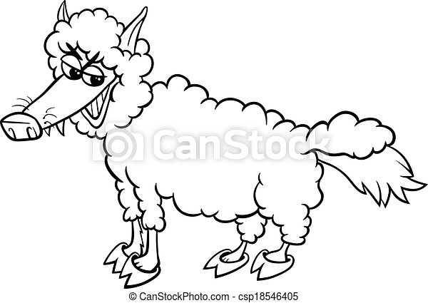 Wolf Sheep Clothing Coloring Page Black And White Cartoon Humor