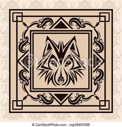 wolf tattoo animal design - csp39450398