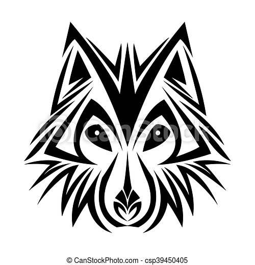 wolf tattoo animal design - csp39450405
