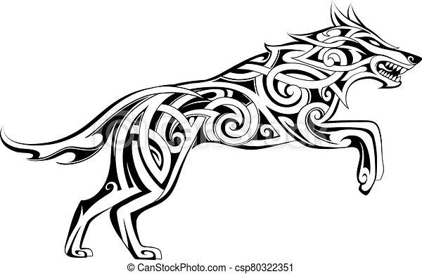 Wolf tattoo Celtic style - csp80322351