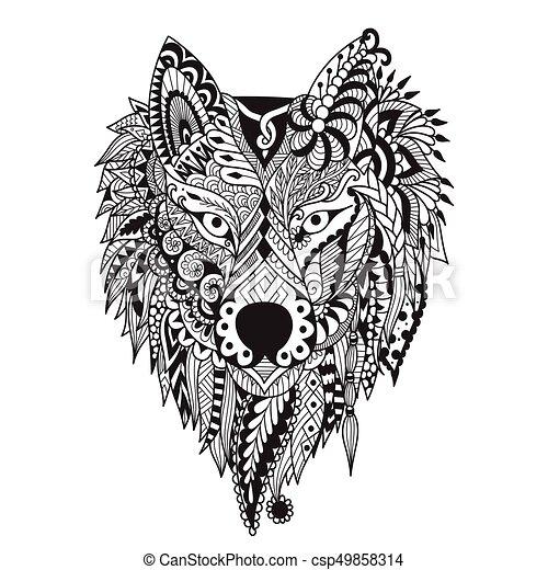 Wolf Zendoodle Stylize Of Dire Design For Tattoo Bag Mug
