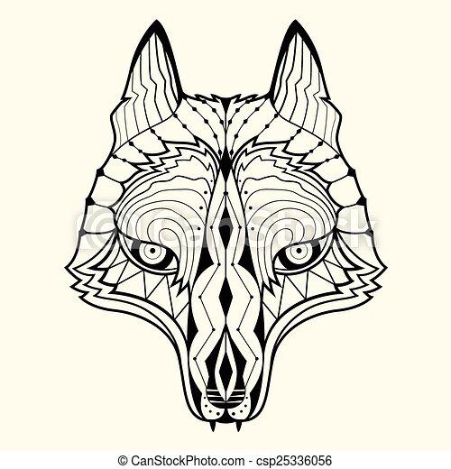 Wolf Zentangle Designvector Illustration