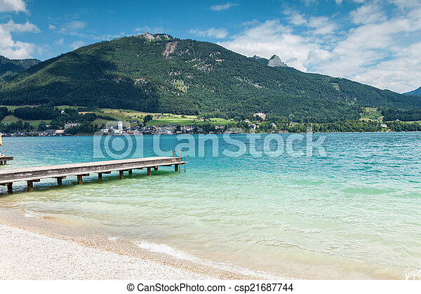 Wolfgangsee lake with turquoise waters in Austria - csp21687744